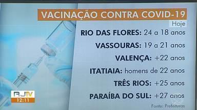 RJ1 atualiza esquema de vacinação em algumas cidades da região - Veja quem pode ser vacinado em Volta Redonda, Rio das Flores, Valença, Itatiaia e Três Rios.