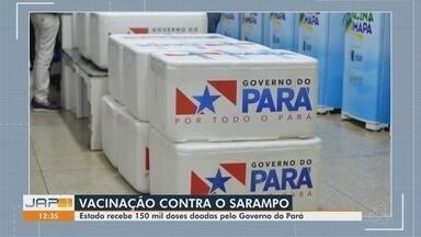 Amapá recebe 150 mil doses de vacinas contra o sarampo doadas pelo governo do Pará - Doses da vacina tríplice viral serão utilizadas na varredura vacinal em vários municípios para conter o surto de sarampo.