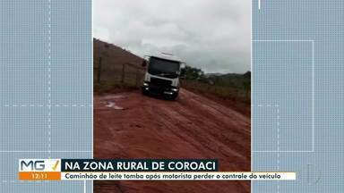 Caminhão carregado de leite tomba na zona rural de Coroaci - Motorista teve ferimentos leves.