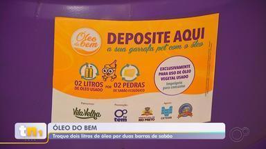 """Projeto 'Óleo do Bem' começa nesta segunda-feira em Rio Preto - Começou nesta segunda-feira (9) o projeto """"Óleo do Bem"""", promovido pela TV TEM, que tem o objetivo de destinar corretamente o óleo de cozinha usado. O material pode ser trocado por barras de sabão."""