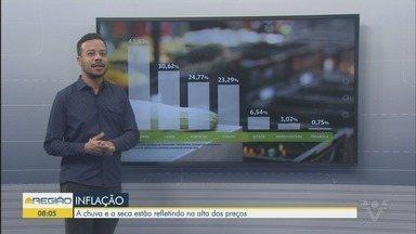 Chuva e seca refletem na alta dos preços dos alimentos - Repórter do Jornal A Tribuna, Júnior Batista, explica por que itens básicos estão com preço elevado.