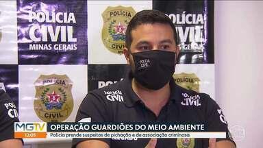 Pichadores são presos por crime ambiental e organização criminosa - A Polícia Civil fez, nesta sexta-feira (13), uma operação de combate à pichação em Belo Horizonte e em Ribeirão das Neves. Três homens foram presos e outros cinco estão foragidos.