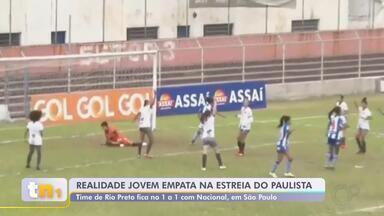 Realidade Jovem empata na estreia do Paulista em partida contra o Nacional - O Realidade Jovem empatou em 1 a 1 na estreia do Paulista na partida contra o Nacional, em São Paulo.