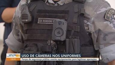 Forças de segurança do Amapá vão testar câmeras nos uniformes para registrar ações - Apresentação de equipamento por empresa privada foi feita nesta sexta-feira (13). Período de testes deve ocorrer no início de setembro.