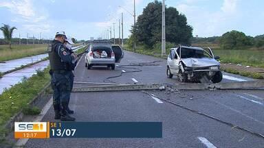 Sergipe registrou mais de 100 batidas de veículos em postes - Sergipe registrou mais de 100 batidas de veículos em postes.