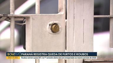 Paraná registra queda de furtos e roubos - Roubos caíram quase 30% no 1º semestre deste ano em comparação ao mesmo período de 2020
