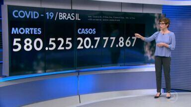 Brasil ultrapassa 580 mil mortes por Covid desde o início da pandemia - Desde o início da pandemia, 580.525 pessoas morreram pela doença. Ao todo, mais de 20,7 milhões de brasileiros já foram infectados pelo vírus.