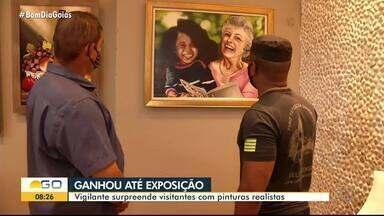 Vigilante que concilia profissão com a de pintor ganhou exposição em shopping de Rio Verde - Damião começou a pintar com mais intensidade durante a pandemia.