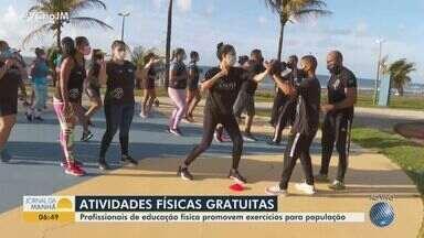 Profissionais de educação física promovem exercício gratuitos no bairro do Costa Azul - Categoria é homenageada nesta quarta-feira (1º).