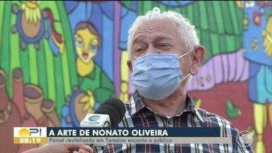 Painel do Centro de Convenções com trabalho de Nonato Oliveira é restaurado - Painel do Centro de Convenções com trabalho de Nonato Oliveira é restaurado