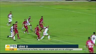 Campinense contesta pênalti marcado para o Sergipe - Com o pênalti convertido, o Sergipe empatou com o Campinense na primeira partida do mata-mata da Série D