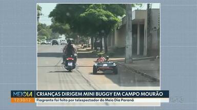 Crianças dirigem mini buggy em Campo Mourão - Flagrante foi feito por telespectador do Meio Dia Paraná.