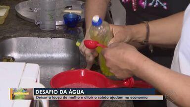 Desafio da Água: veja reportagem sobre como economizar na hora de lavar a louça - Deixar as vasilhas de molho e diluir o sabão na água são algumas das ações que fazem diferença no consumo.