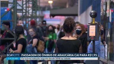 Araucária reduz a tarifa de ônibus - Passageiros vão pagar R$1,95