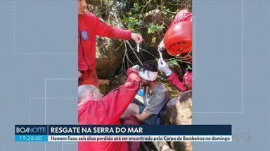 Jovem é resgatado depois de seis dias perdido na Serra do Mar - Ele estava com um machucado no rosto, mas passa bem