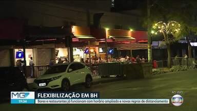 Bares e restaurantes de BH têm horário ampliado e novas regras de distanciamento - Segunda-feira (13) é o primeiro dia útil com as novas medidas de flexibilização na capital.
