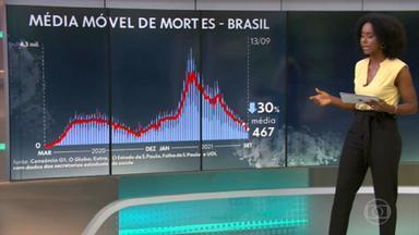 Brasil ultrapassa 21 milhões de casos registrados de Covid; média móvel de mortes completa 3 semanas em queda - País registra 587.138 óbitos e 21.005.064 casos de coronavírus, segundo balanço do consórcio de veículos de imprensa com dados das secretarias de Saúde.