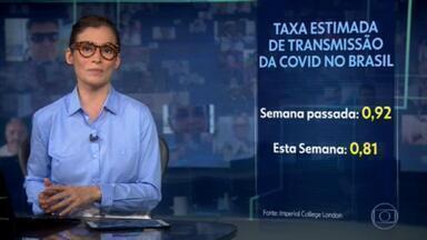 Taxa de transmissão do coronavírus no Brasil cai para 0,81 - Segundo o Imperial College de Londres, isso indica uma desaceleração na transmissão do vírus.
