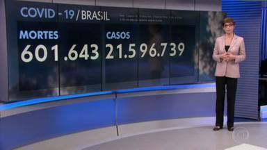 Brasil registra 201 mortes por Covid nas últimas 24 horas - Enquanto a vacinação avança, o país registrou 201 mortes pela doença nas últimas 24 horas. A média de óbitos está em 318 por dia — uma redução de 41% em duas semanas.