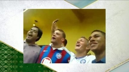 Em vídeo, Neuer e Schweinsteiger vestem uniforme e cantam hino do Bahia