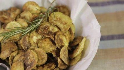 Chips de Abobrinha com Sal e Alecrim