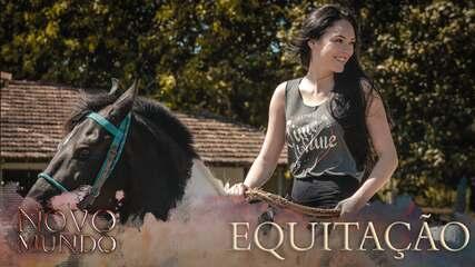 Relembre as aulas de equitação do elenco de 'Novo Mundo'