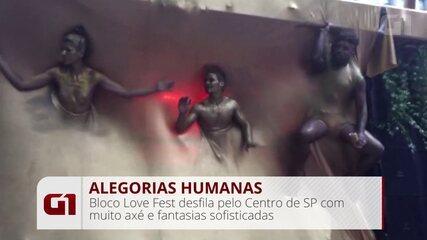 Bloco Love Fest traz alegorias humanas para desfile no Centro de SP