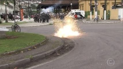 Houve confrontos entre manifestantes e policiais em SP