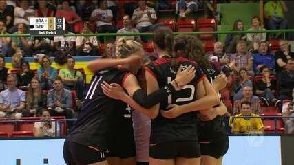 Melhores momentos de Brasil 2 x 3 Alemanha pelo Torneio de Montreux de vôlei feminino