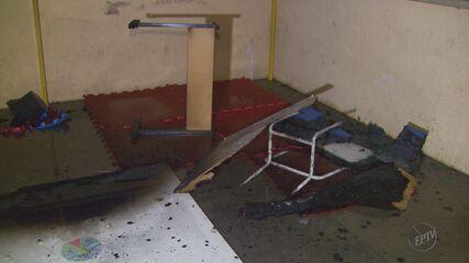 Salas ficam destruídas após incêndio em escola municipal de Poços de Caldas