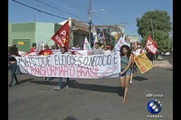 Em várias cidades no interior do Pará, trabalhadores protestam contra reformas do governo
