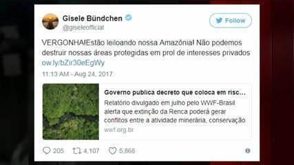 Artistas se manifestam contra decreto presidencial que extingue reserva florestal