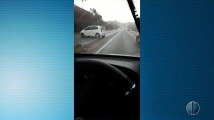 Vídeo mostra roubo de caminhão com carga de cigarro, em Natal