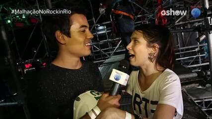 Daphne Bozaski e Bruno Gadiol aceitam o desafio de ir na tirolesa do 'Rock in Rio'