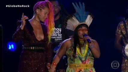 Líder indígena fala sobre demarcação da Amazônia em show de Alicia Keys no Rock in Rio