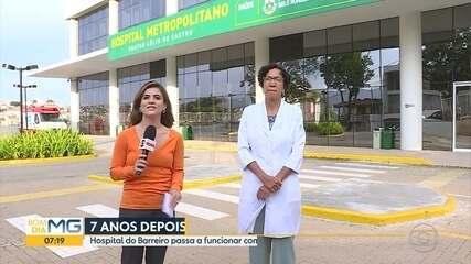 Hospital do Barreiro, em BH, passa a funcionar com 100% da capacidade