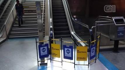 Escadas rolantes paradas em SP