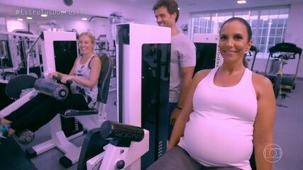 Angélica põe barriga de grávida para malhar com Ivete Sangalo
