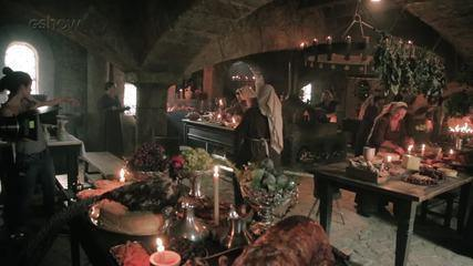 Confira os bastidores do primeiro dia de gravação de 'Deus Salve o Rei' e da cozinha medieval do castelo do reino de Montemor