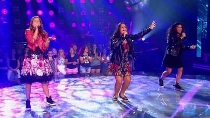 Na fase das Batalhas, Eduarda Back, Livia Bernarde e Lúcia Muniz cantam 'Sorry not Sorry'