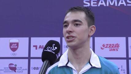 Hugo Calderano comenta final contra o chinês Fan Zhendong no Aberto do Qatar