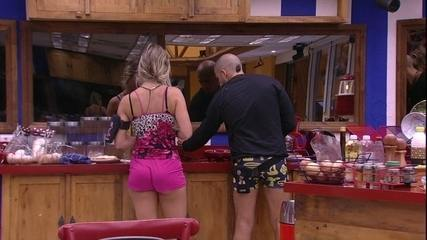 Kaysar conta para Jéssica: 'Vou montar um pão com queijo'