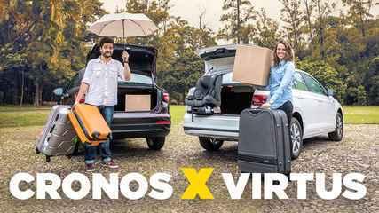 Vídeo: duelo de espaço entre Volkswagen Virtus e Fiat Cronos