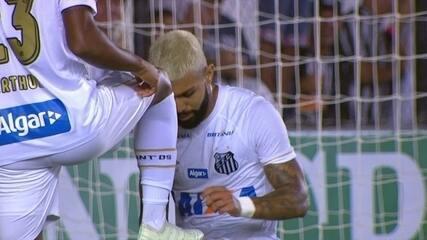 Gol do Santos! Gabriel completa para a rede após jogada de Arthur Gomes aos 30 do 2º tempo