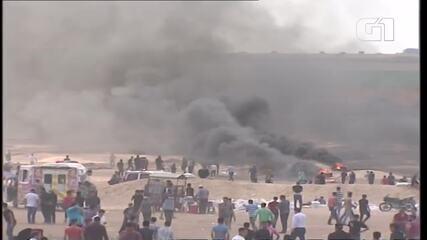 Fronteira entre Gaza e Israel tem confronto horas antes da inauguração da embaixada