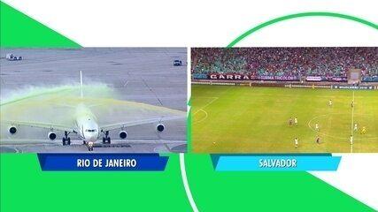 Avião da Seleção Brasileira recebe homenagem antes de decolar