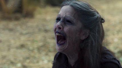 Bia Arantes se surpreende ao ver os efeitos visuais da cena em que Brice envelhece
