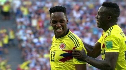 Gol da Colômbia! Mina sobe bem e marca de cabeça aos 28 do 2º tempo