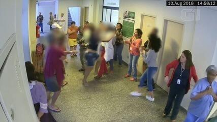 Imagens mostram momento em que servidoras são agredidas no pronto-socorro