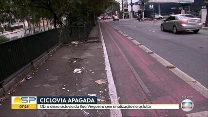 Obra deixa ciclovia da Rua Vergueiro sem sinalização no asfalto